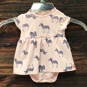 Zutano Baby Pink Romper Dress with Zebra Print 6 M
